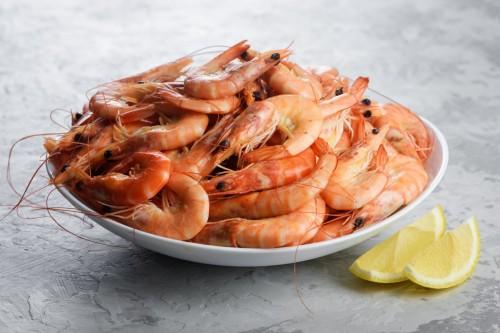 Šiaurinės dryžakojės krevetės, 70/90, virtos, 5 kg, šaldytos